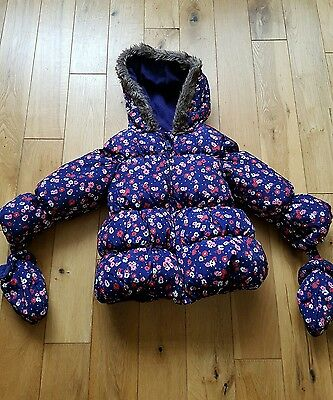 M&S Baby Girl Coat 12-18 Months with Detachable Mittens