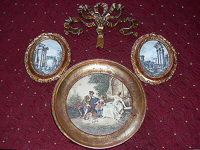 SET Florentine Frame LOT Gold Gilt Tole Painted Wood ITALY Prints Picture Art