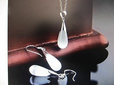 Beautiful White Stone Opal Necklace & Earrings With Sterling Silver Settings!!!