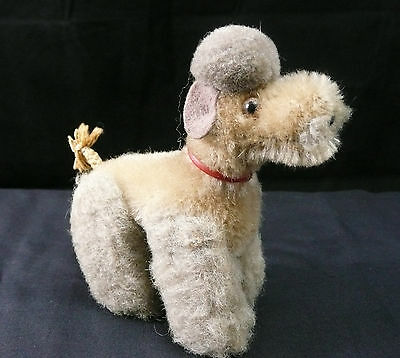 """Vintage Steiff Miniature Mohair Gray Snobby Poodle Dog Excellent! 4 1/4"""""""