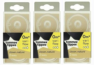 6xTommee Tippee Closer To Nature Vari Flow Anti-Colic Baby Bottle Teats 0 month+