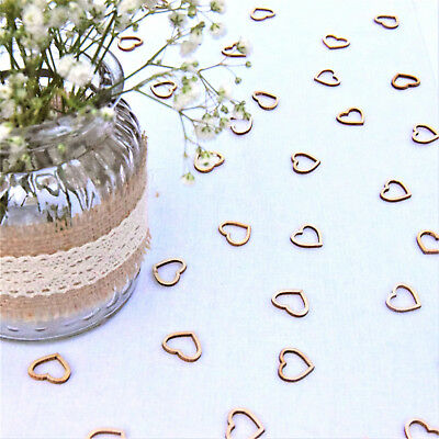 Wedding Table Decorations | Hollow Rustic Small Wooden Hearts | Love Confetti