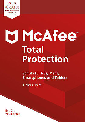 McAfee Total Protection 2018 Unlimited (1PC, 3PC, 5PC, 10PC)  1Jahr Vollversion