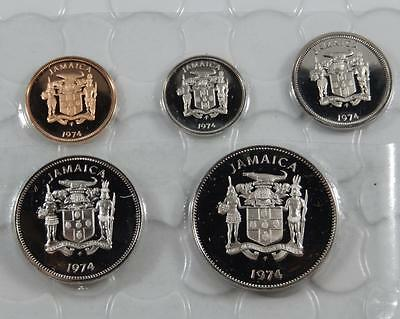 Jamaica 1974 GEM Proof 1 5 10 20 & 25 Cents Coin Lot All Mint Sealed C0168