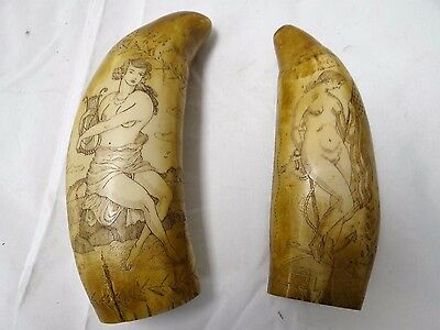 Lot Of 2 Replica Whale Tooth Scrimshaw's The Ship Mercator, The Ship Albatross