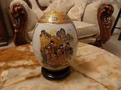 Hand Painted Large Chinese Porcelain Egg On Carved Stand
