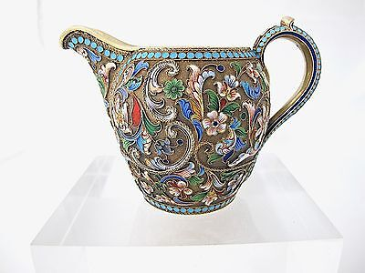 Fine Russian silver gilt and cloisonne cream jug Ivan Saltykov MOSCOW C1898