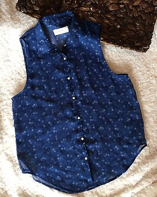 Women's Abercrombie & Fitch Blue And White Floral Button Sheer Blouse Size Small