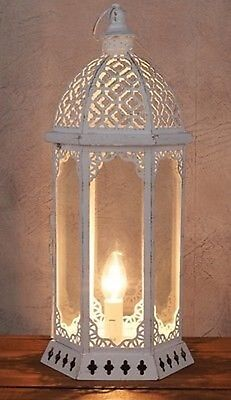 Large White Moroccan Style Metal  Lantern Table Lamp  New