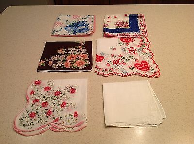 Lot of 6 Vintage Ladies Handkerchiefs Floral Scalloped Embroidered Valentines