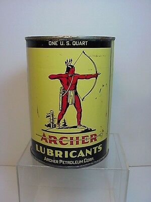 Archer Motor Oil can  Quart 55 cents Indian & Airplane Graphics  Omaha Ne