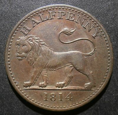 British Copper Company halfpenny 1814 - Cleaned & retoned Very rare RR W.615