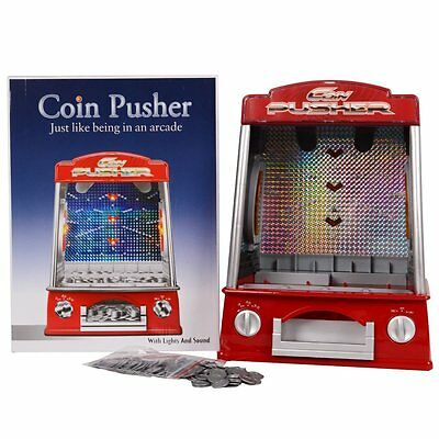 Mini Coin Pusher Arcade Game Machine , Lights and Sounds,150 Play Coins