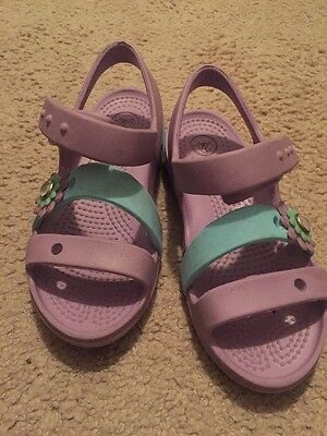 Crocs Pink With Flowers 3 Strap Sandals Girls Sz 12