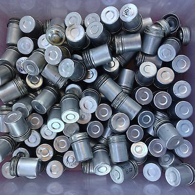 Lot of 98 Vintage 35mm Film Canisters - Aluminum, Scew-top