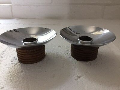 Art Deco Chase Diana Walnut & Chrome Candle Holders