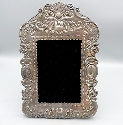 Vintage Mexican Sterling Silver Repousse 950 Wood Backed Picture Frame 1950's