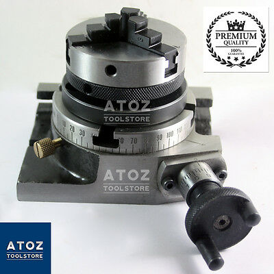 "Rotary Table 3"" (80mm) Horizontal & Vertical + 65mm Lathe Chuck + Backplate ATOZ"