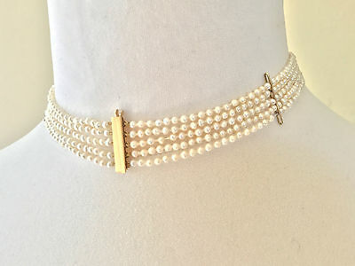 Cultured Pearl, five row choker necklace with 9ct gold clasp and Spacers.