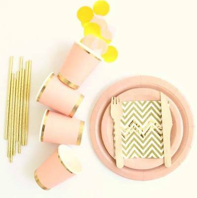 Pink & Gold Party Supplies - Paper Cups, Plates, Straws, Napkins, Wooden Cutlery