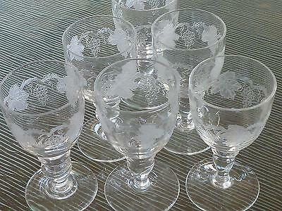 6 Bohemia Crystal Czechoslovakia Grapevine Shot Liqueur Glasses