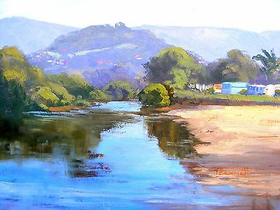 Original Australian Oil Painting By Trish Bennett Camping On The River