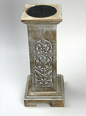 Vintage Antique Carved Beige Wood Made in India Candle Holder Aprox 2 Feet Tall