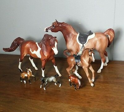 Lot of 6 Breyer Reeves Horses Stablemates Large Mini Colts Foals Moulded Saddles