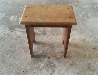 Antique Childs Wooden Stool Bench Vintage Chair.