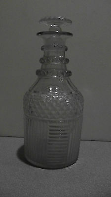 Georgian Step Cut 3 Ring Neck Glass Decanter c1820 English NICE!