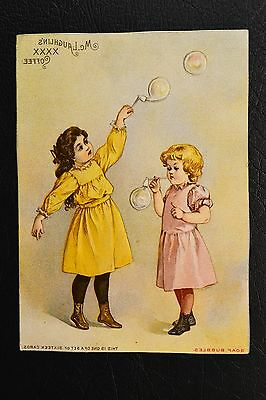 "Vintage Mc Laughlin's XXXX Coffee Advertising Trade Card Titled ""Soap Bubbles"""