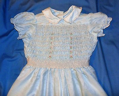 Vintage Hand Made 1950's Girl's Pale Blue Dress with Smocking