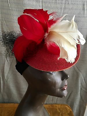 Vintage Jaunty Jazzy 1940's Fine Red Straw Tilt Hat with Feathers