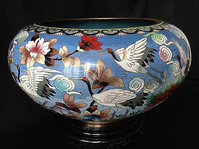 "Large Chinese Republic Period 16.25"" cloisonne bowl with stand"