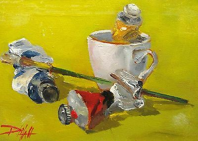 Delilah Primary colors oil paints still life cup original painting realism