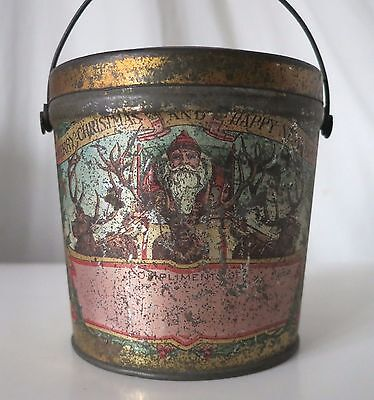 Merry Christmas And Happy New Year Antique Candy Tin Pail