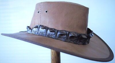 Kangaroo  leather hat Genuine Crocodile  band Dundee SPECIAL FOR FAST SALE