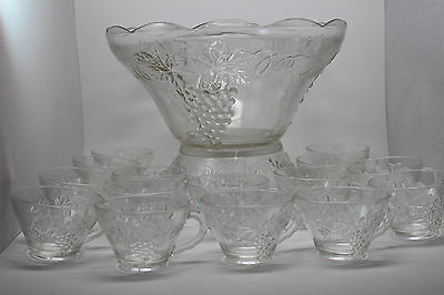Vintage Grape Design Anchor Hocking Punch Bowl Set with Stand & 15 cups