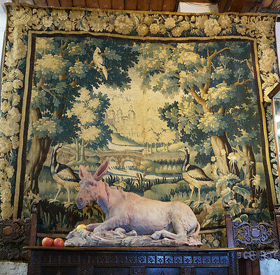 Large Aubusson tapestry with wooded landscape & birds, C. 1690