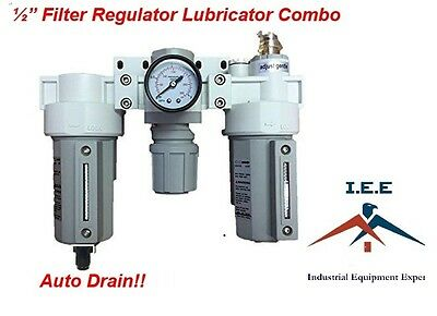 "3 Stages Compressed Air Filter Regulator Lubricator Combo 1/2"" NPT Auto Drain"