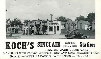 A View Of Koch's Sinclair Service Station, West Baraboo, Wisconsin WI