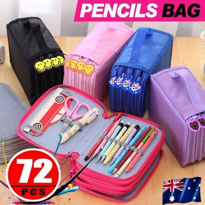 New Portable Drawing Sketching Pencils Pen Case Holder Bag for 72pcs Pencils AU