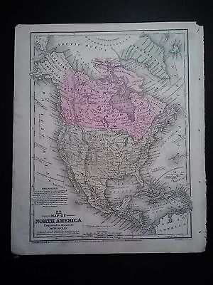 Original 1852 Mitchell's Map Of North America