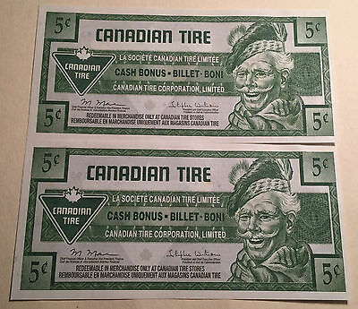 Combo Lot Of 2 - Canadian Tire Five Cents Notes Uncirculated 2 Consecutive