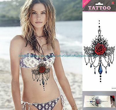 US SELLER, red rose Girly Under Chest Side Boob Tattoo lower back tattoos girls
