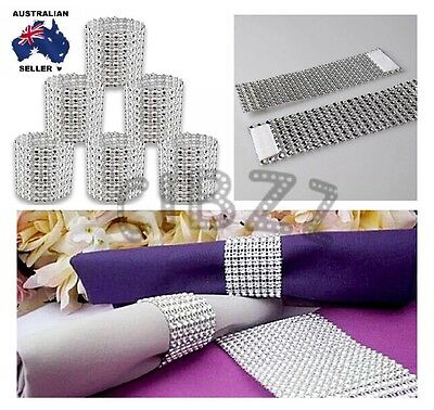 8x Rhinestone Design Napkin Ring 8Row Diamante Wedding Decor Serviette Holders