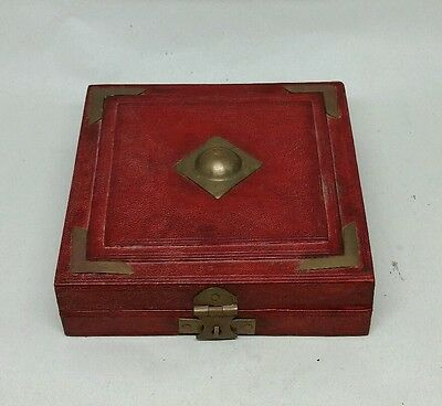 Antique Chinese Leather and Brass Box For Jade Pendant Plaque