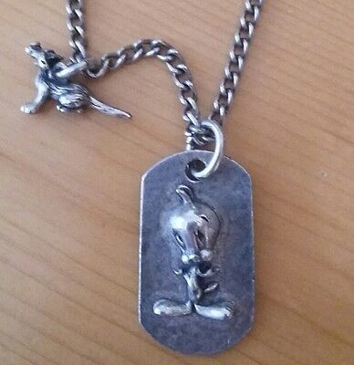 Tweety Bird Dog Tag Necklace with Sylvester Charm. Signed TM WB.