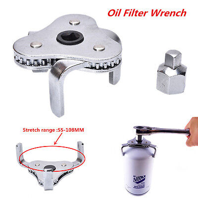 Universal Two Way Oil Filter Wrench Removal Tool 3 Jaws Adjustable Heavy Duty