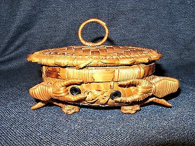 Antique Chinese Hand Woven Wicker Crab Shaped Basket with Lid GUC Trinket Box